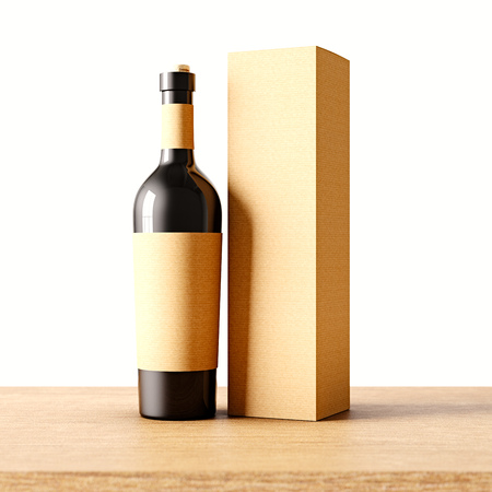 bouteille de vin: Closeup one not transparent gray glass bottle of wine on the wooden desk, white wall background.Empty glassy container concept with craft mockup label and carton paper bag for bottles.3d rendering