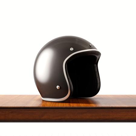 天然木製机の上の黒い色のレトロなスタイルのオートバイのヘルメットの側面図です。概念の古典的なオブジェクト白の背景。Square.3d レンダリング 写真素材