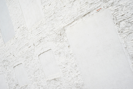 Photo of clean vintage empty background.Old white painted brick wall texture. White washed brickwall surface.Horizontal mockup. Stock Photo