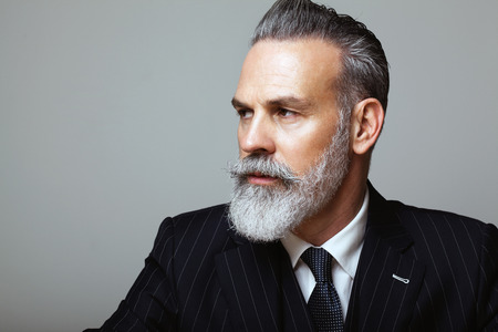 Close-up portrait of bearded gentleman wearing trendy suit over empty gray background. Copy Paste space.