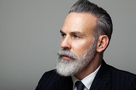 Close-up portrait of bearded gentleman wearing trendy suit over empty gray background. Fashion concept. Imagens - 102936794