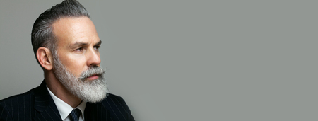 Close-up portrait of bearded gentleman wearing trendy suit over empty gray background. Copy Paste text space. Wide.