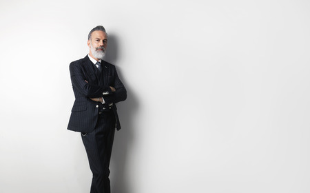 Portrait of bearded confident gentleman wearing trendy suit standing over empty white background. Copy Paste text space.