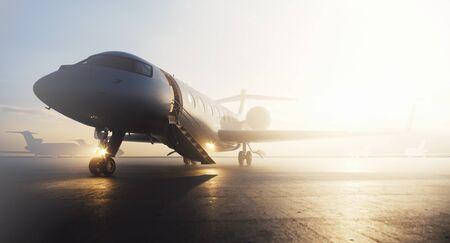 Zakelijk privéjet-vliegtuig geparkeerd bij terminal. Luxe toerisme en zakenreizen transport concept. 3D-rendering Stockfoto