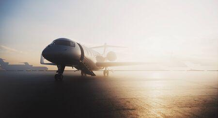 Zakelijk privéjet-vliegtuig geparkeerd bij terminal. Luxe toerisme en zakenreizen transport concept. 3D-rendering