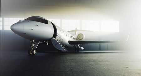 Business private jet airplane parked at terminal. Luxury tourism and business travel transportation concept. 3d rendering. Фото со стока