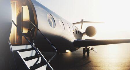 Business jet privato aereo parcheggiato al terminal. Turismo di lusso e concetto di trasporto per viaggi d'affari. Avvicinamento. rendering 3D.