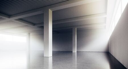 Empty loft style office building corridor with white concrete walls and floor. Concept of interior design and architecture. 3d rendering Фото со стока