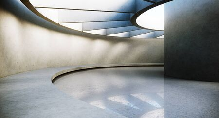 Contemporary and futuristic empty interior with natural light on concret wall and reflections on the floor. Concept of interior design and architecture. 3d rendering
