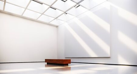 Gallery interior with blank picture frames spot lights and natural sunlights. 3d rendering
