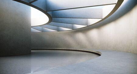 Zeitgenössisches und futuristisches leeres Interieur mit natürlichem Licht an der Betonwand und Reflexionen auf dem Boden. Konzept der Innenarchitektur und Architektur. 3D-Rendering