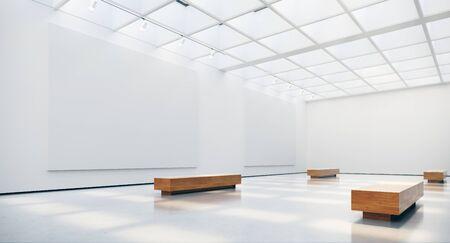 Interior de la galería con focos de marcos de cuadros en blanco y luces solares naturales. Representación 3d Foto de archivo