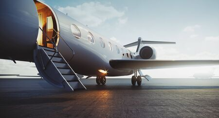 Closeup view of business jet airplane parked at outside and waiting vip persons. Luxury tourism and business travel transportation concept. 3d rendering.