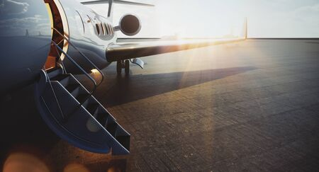 Closeup view of business jet airplane parked at outside and waiting vip persons. Luxury tourism and business travel transportation concept. Flares. 3d rendering. Imagens