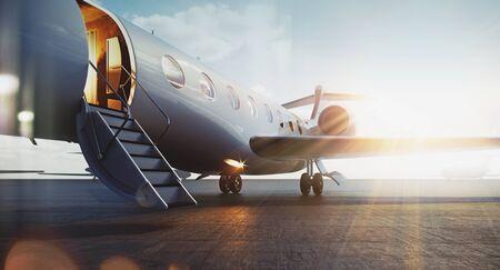 Biznesowy samolot odrzutowy zaparkowany na zewnątrz i czekający na vip osoby. Koncepcja transportu luksusowej turystyki i podróży służbowych. Flary. renderowania 3D.