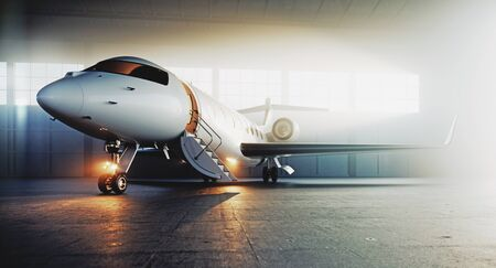 Business private jet airplane parked at terminal and ready to flight. Luxury tourism and business travel transportation concept. 3d rendering.