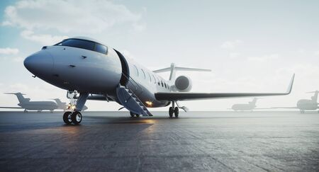 Business private jet airplane parked at outside and waiting vip persons. Luxury tourism and business travel transportation concept. 3d rendering.