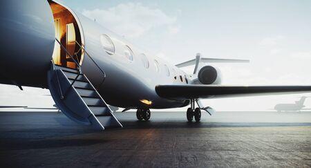 Vista del primo piano dell'aereo jet privato parcheggiato all'esterno e in attesa di persone d'affari. Turismo di lusso e concetto di trasporto per viaggi d'affari. rendering 3D.