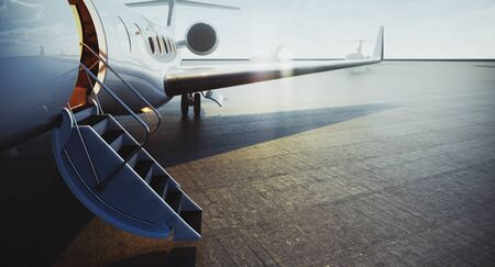 Closeup view of private jet airplane parked at outside and waiting business persons. Luxury tourism and business travel transportation concept. 3d rendering.