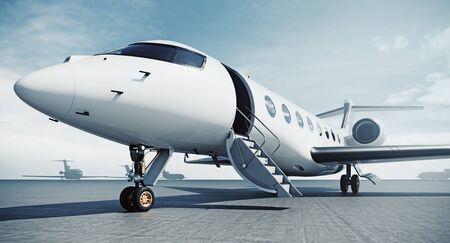 Avión jet privado de negocios estacionado en el aeródromo y listo para el vuelo. Turismo de lujo y concepto de transporte de viajes de negocios. Representación 3D.