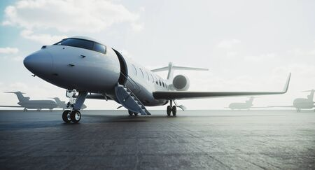 Business class jet airplane parked at airfield and waiting vip persons for take off. Luxury tourism and business travel transportation concept. 3d rendering. Imagens