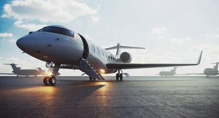 Corporate business class jet airplane parked at airfield and waiting vip persons for take off. Luxury tourism and business travel transportation concept. 3d rendering. Banco de Imagens