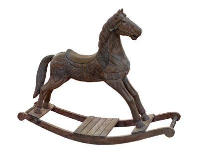 wooden rocking horse on white background isolated Stock Photo