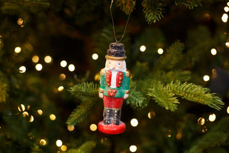 Toy soldier on the Christmas tree, holiday decor
