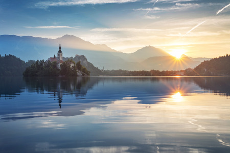 bled: BLED in Slovenia Stock Photo