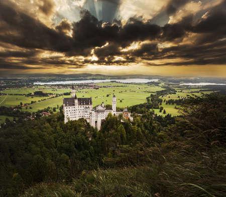 neuschwanstein: Neuschwanstein castle in Bavarian alps, Germany