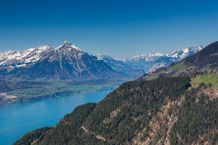 interlaken: Beautiful view of the river and the house to Interlaken, Switzerland Stock Photo