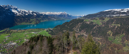 canton berne: Beautiful view of the river and the house to Interlaken, Switzerland Stock Photo