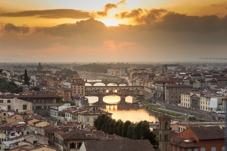 dark city: View of Florence after sunset from Piazzale Michelangelo, Florence, Italy