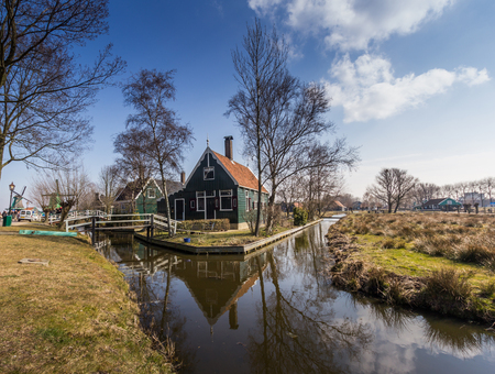 zaandam: Traditional Dutch old wooden windmill in Zaanse Schans Stock Photo