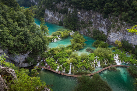 water fall: Breathtaking view in the Plitvice Lakes National Park .Croatia Stock Photo