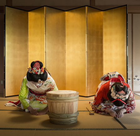 maiko: Niigata JAPAN - OCTOBER  27: Maiko in NIIGATA Japan on OCTOBER 27, 2015. Apprentice geisha . Their jobs consist of performing songs, dances, and playing the shamisen