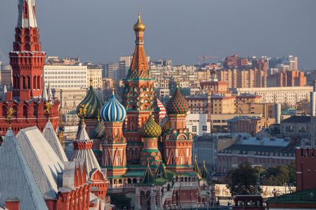 tourism in russia: Moscow,Russia,Red square,view of St. Basils Cathedral