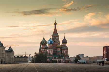 Moscow,Russia,Red square,view of St. Basil's Cathedral Stok Fotoğraf
