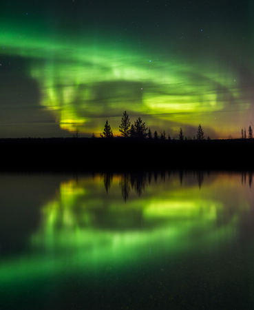 natural light: A beautiful green and red aurora dancing