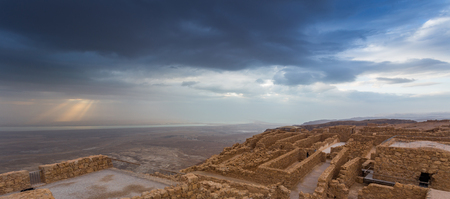 Masada fortress. Ruins of King Herod's palace in Judaean Desert. Stok Fotoğraf - 53667555