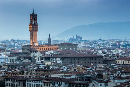 View of Florence after sunset from Piazzale Michelangelo, Florence, Italy Stok Fotoğraf - 53668768