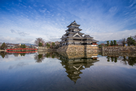 Matsumoto castle against blue sky in Nagono city, Japan