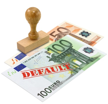 Euro banknote with the word DEFAULT stamped. European Union financial crisis concept. Stock Photo