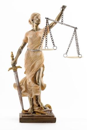 Justiz greek themis, mit verbundenen Augen latin justitia mit Waage, Schwert Standard-Bild - 12584142