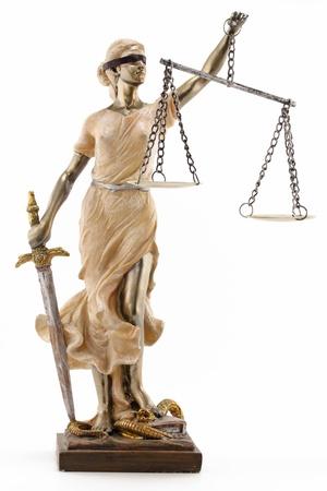 gerechtigheid: Justitie Griekse Themis, latin Justitia geblinddoekt met schubben, zwaard Stockfoto