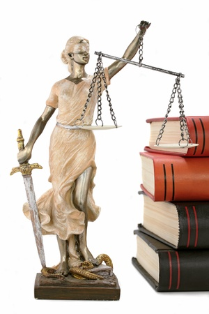 justitia: Justicia THEMIS griego, lat�n justitia con los ojos vendados, con balanza y la espada Foto de archivo