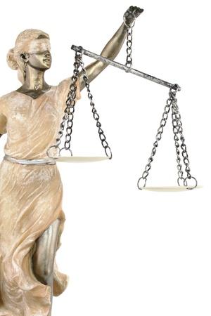 imbalance: Justitie (Grieks: THEMIS, latin: Justitia) geblinddoekt met schubben Stockfoto