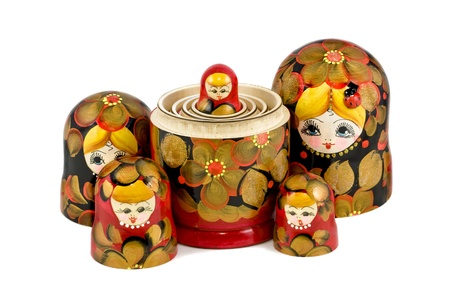 russian nesting dolls: Russian nesting dolls ( babushkas or matryoshkas ) isolated on white background Stock Photo