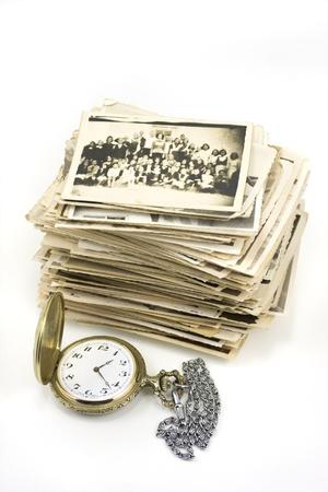 vintage pocket watch with b&w photo