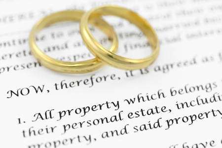 Prenuptial agreement  Shallow DOF on the word PROPERTY Stock Photo